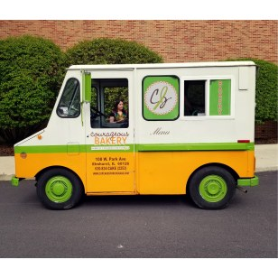 """Courageous Bakery's food truck """"Little Green"""" parked outside Chicago Zine Fest on May 18.   Photo by Timothy Inklebarger"""
