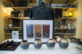 """There are a variety of handcrafted items for sale at Visit Oak Park as part of their Urban Local Made program, including pottery by John Putnam and metal """"neckties"""" by Doug Freerksen, both Oak Parkers. 