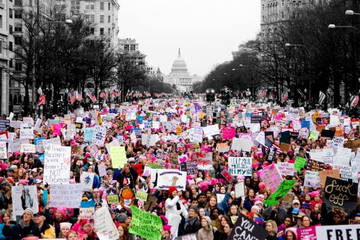 "KEEP MARCHING: Scenes from the documentary ""Women's March,"" which its editor, Alexa Albers, said will debut on Amazon and iTunes next year. 