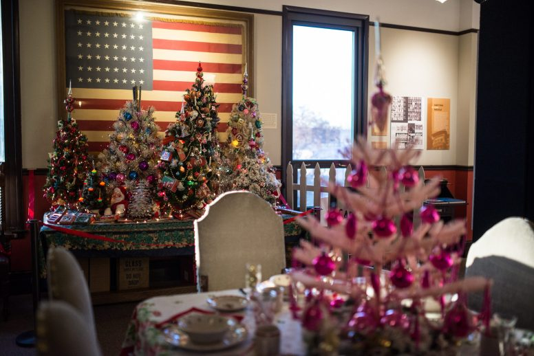 Christmas trees with decorations are displayed upstairs on Nov. 14, at the Oak Park River Forest Museum on Lake Street in Oak Park. | Alexa Rogals/Staff Photographer