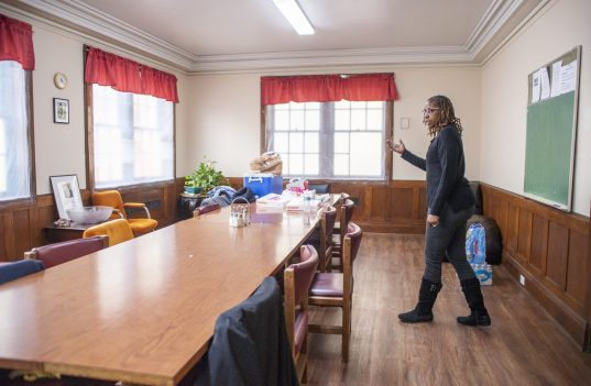 SisterHouse moved recently from its longtime home in Austin to the former St. Catherine-St. Lucy Convent at 25 Washington Blvd. in Oak Park. Executive Director Lisa Steward-Baugh (top) led the celebration for the move on Feb. 24. | Alexa Rogals/Staff Photographer