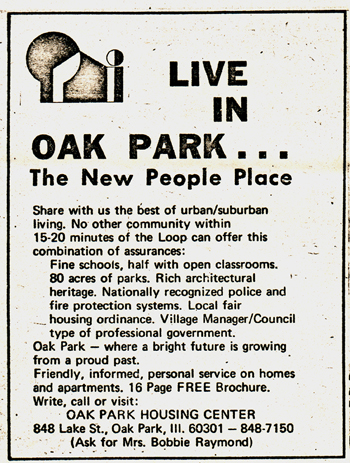 An early ad from the Oak Park Housing Center. (Image courtesy of WBEZ Chicago)