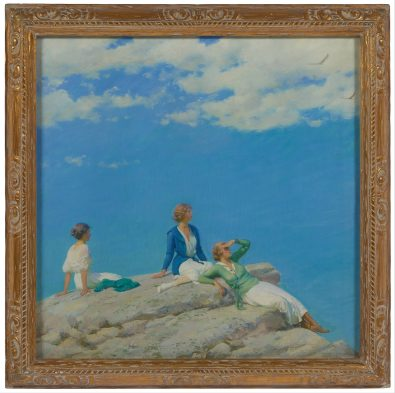 """""""Three Women on Hilltop,"""" an oil on canvas painted by Charles Courtney Curran."""
