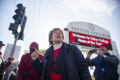 Randi Weingarten, American Federation of Teachers president, visited the picket line at Triton on Wednesday in support of the college's middle managers. | ALEX ROGALS/Staff Photographer