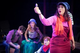 Sarah Bacinich with (back, l to r) Josh Pennington, Brianna Joy Ford and Cohen Kraus in Strawdog Theatre Company's production of HERSHEL AND THE HANUKKAH GOBLINS. Photo by Jesus J. Montero.