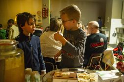 Kids try out the snacks provided by Sugar Beet Co-Op on Jan. 24, during a Seed Cafe Night at the Seed Montessori on Madison Street in Oak Park. | ALEX ROGALS/Staff Photographer