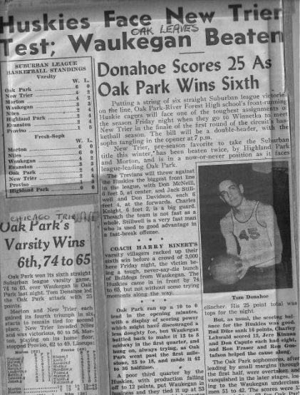Donahoe played on OPRF's basketball team in the 1950's. He is now 84-years-old and is giving back to the program he played for years ago (photo provided by Martha Gallo).