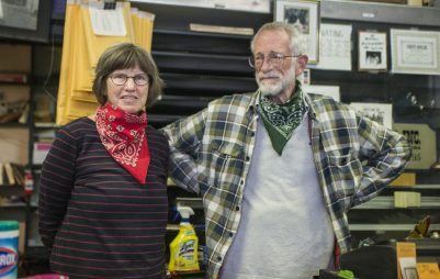 Deborah Pieritz, left, and John Roberts, stand for a photo on Friday, May 22, 2020, at Pieritz Brothers on Ridgeland Avenue in Oak Park, Ill.   ALEX ROGALS/Staff Photographer