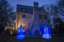 The home on the 800 block of Ashland is seen with decorations for Hanukkah on Thursday, Dec. 17, 2020, in River Forest, Ill. | ALEX ROGALS/Staff Photographer