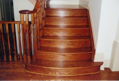 The Oak Stair Wooden Stairs Oak Stairs Railing   Red Oak Stair Railing   Inside   2 Tone   Beautiful   Color   Two Toned