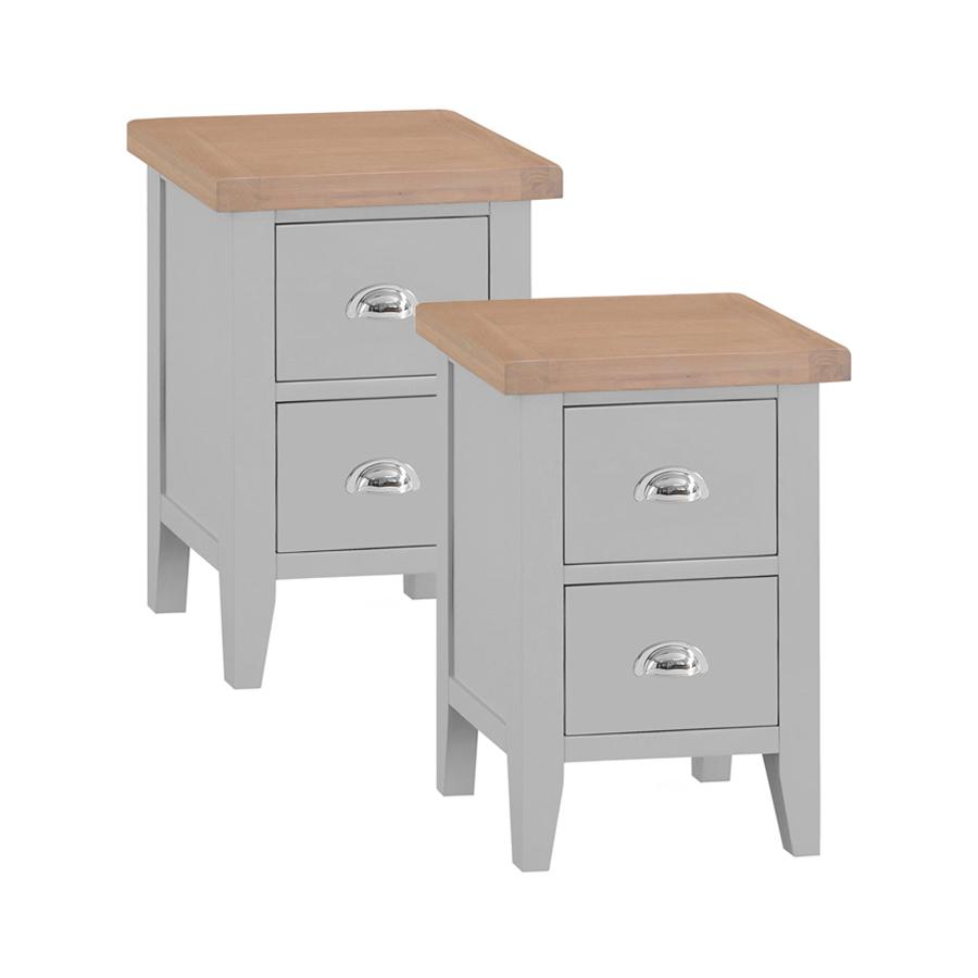 Woodbridge Grey Painted Set Of 2 Small Bedside Table Oak World