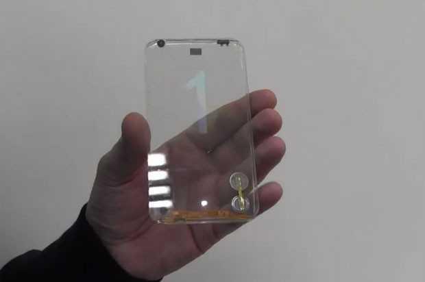 Empresa de Taiwan apresenta protótipo de smartphone transparente. O número que aparece na tela muda para mostrar que dispositivo funciona (Foto: Divulgação)