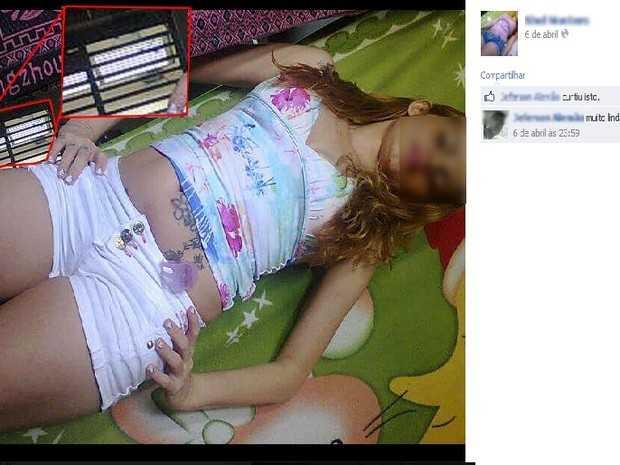 Reeducanda postou foto no último dia 6 de abril; ao fundo grade de cela (Foto: Reprodução/Facebook)