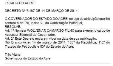 Nomeação de Wolvemar publicado no Diário Oficial