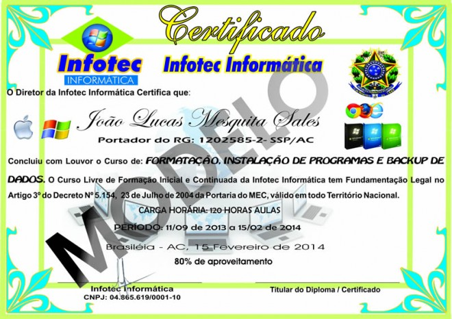 Modelo do certificado oferecido após conclusão dos cursos
