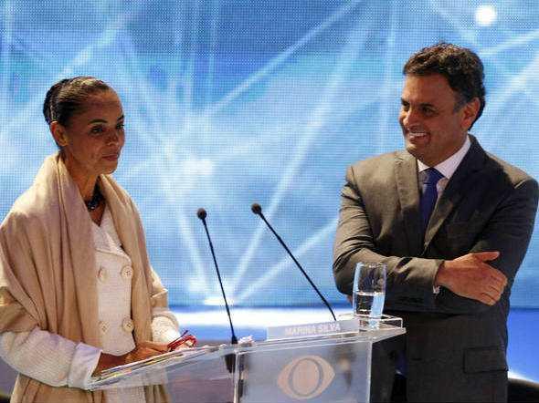 Marina e Aécio: os tucanos acreditam que o discurso mudancista da ex-ministra poderá levá-la a apoiar Aécio