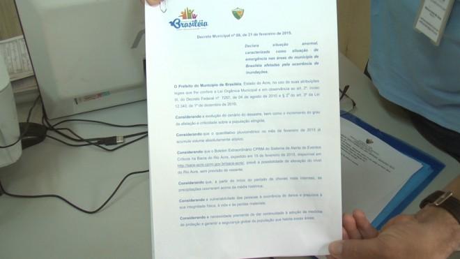 Decreto de Emergência assinado pelo prefeito de Brasiléia.