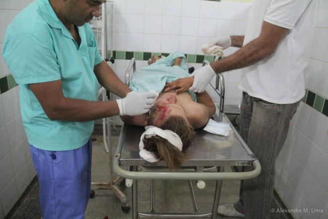 Karl foi socorrido no hospital de Brasil e apresentava vários hematomas pelo corpo - Foto: Alexandre Lima