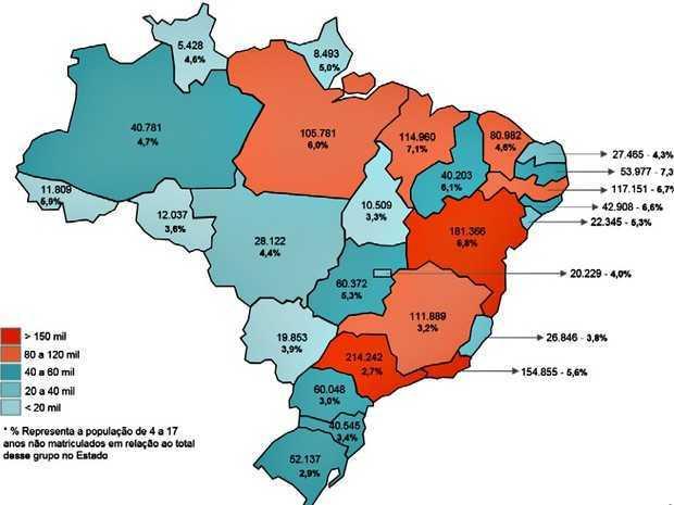 Mapa do MEC mostra nível de evasão em 2015 nos estados brasileiros (Foto: Divulgação/MEC)