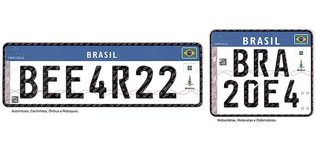 Placas para automóveis, caminhões, ônibus e reboques (à esquerda) e motos: emblema do Mercosul, nome e bandeira do país, bandeira do Estado e brasão da cidade, faixa holográfica, código 2D e marcas de segurança diferenciam novos modelos