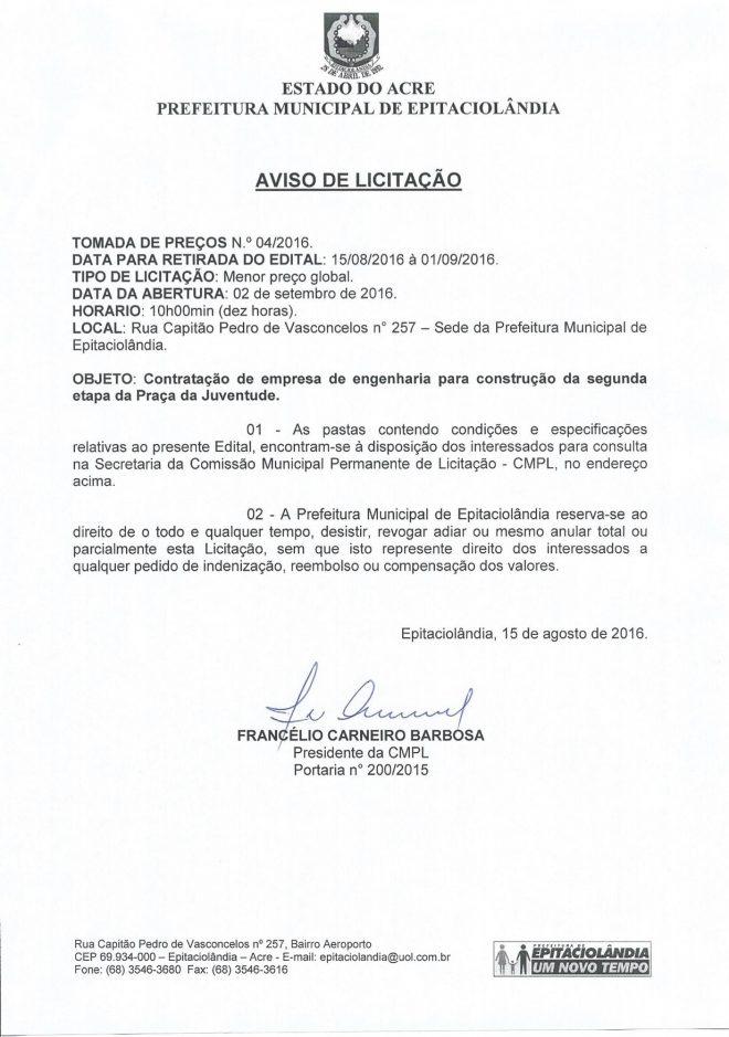 Aviso de Licitação TP 04 2016