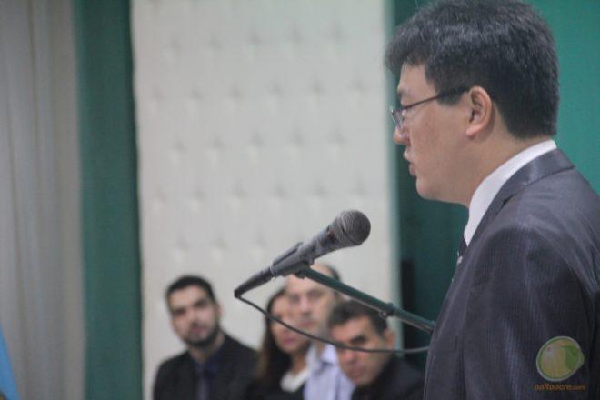 Superintendente Regional no Acre, Chang Fan, veio à fronteira para a solenidade de posse - Foto: Alexandre Lima