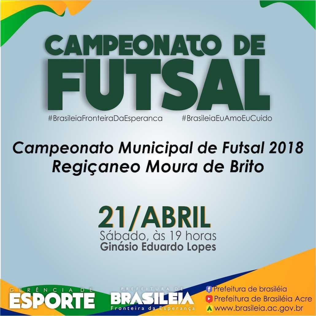Prefeitura irá realizar campeonato municipal de futsal 2018  19117ec80f911