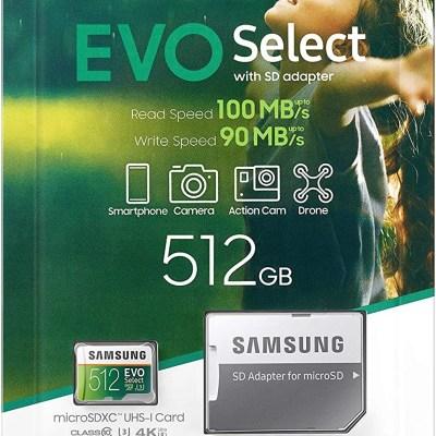 Samsung 512GB 100MB/s (U3) MicroSDXC EVO Select Memory Card with Adapter