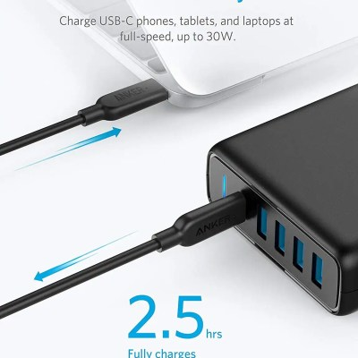 Anker Premium 60W 5-Port Desktop Charger with One 30W Power Delivery Port