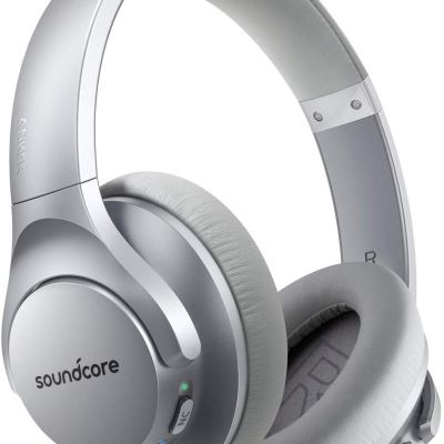Anker Soundcore Life Q20 Hybrid Active Noise Cancelling Headphones with 40H Playtime – Silver