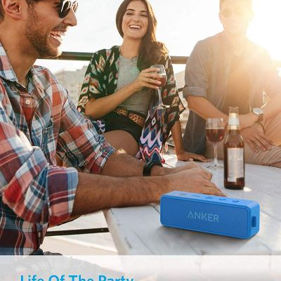 Anker Soundcore 2 Portable Bluetooth Speaker 24-Hour Playtime with IPX7 Water Resistance – Blue