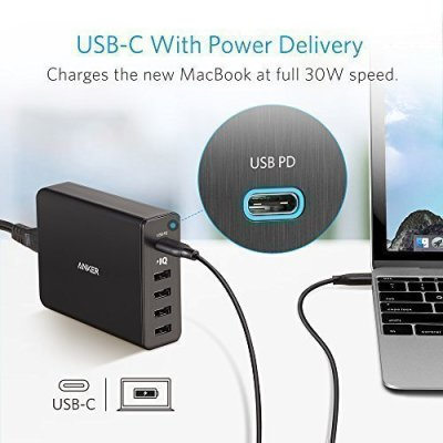 Anker PowerPort+ 5 USB-C Premium 5-Port 60W USB Wall Charger  with PowerIQ