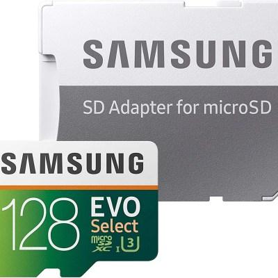 SAMSUNG EVO Select 128GB microSDXC UHS-I U3 100MB/s Full HD & 4K UHD Memory Card with Adapter