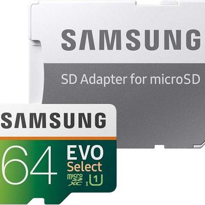SAMSUNG EVO Select 64GB microSDXC UHS-I U1 100MB/s Full HD & 4K UHD Memory Card with Adapter