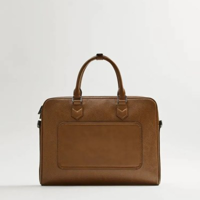 ZARA Brown BriefCase With A Grainy Finish Front Pocket Line With Lined Interior And Zip Closure
