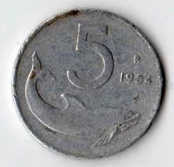 Italia 5 lire - 1954