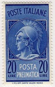Testa di Minerva, posta pneumatica, 20 Lire, 1966