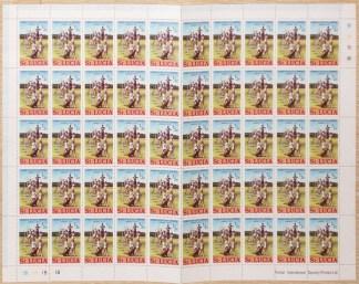 Saint Lucia, foglio completo 1/2 cent