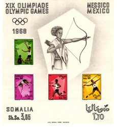SOMALIA, FOGLIETTO XIX OLIMPIADI