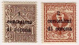 Trento e Trieste sovrastampati, 2 valori in corone