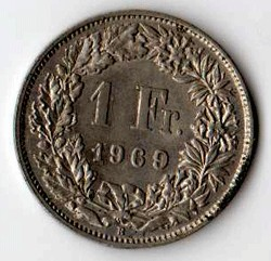 SVIZZERA 1 FRANCO - 1969