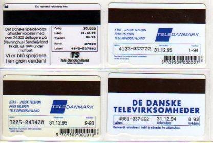 Danimarca 4 schede telefoniche