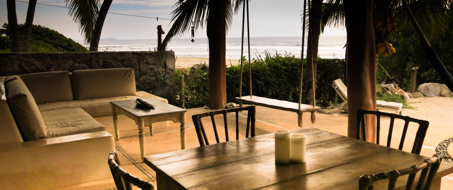 Casa Oasis Troncones Downstairs two bedroom beach house beachfront outdoor living area,