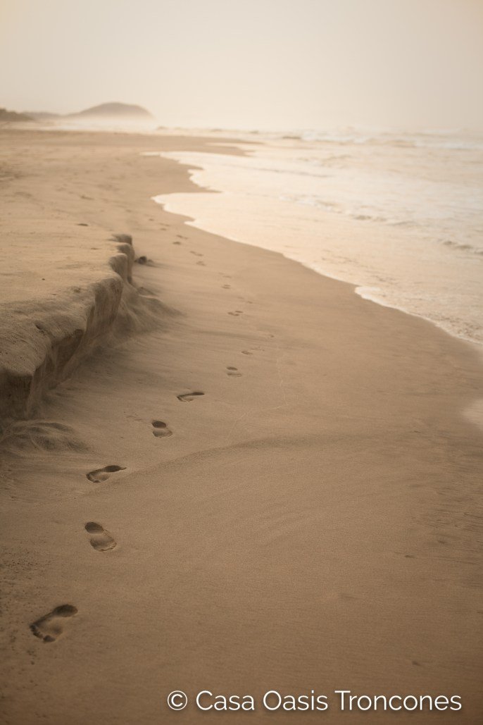 footprints on an empty Troncones Beach
