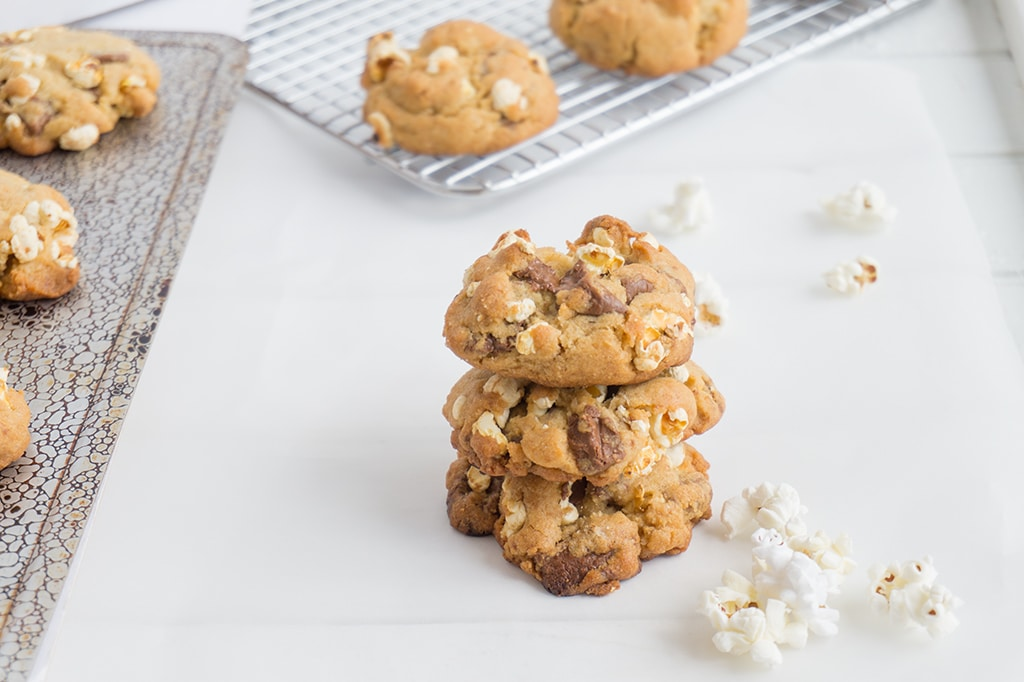 Popcorn Chocolate Chunk Cookies stacked