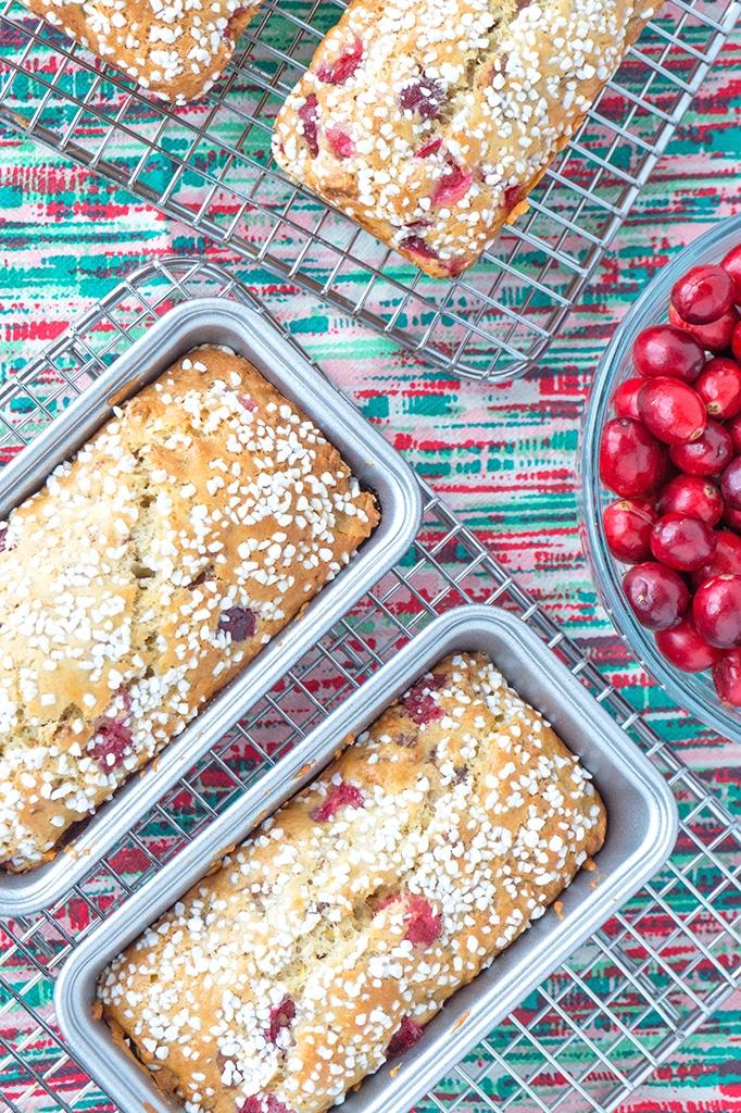 cranberry walnut bread loaves overhead
