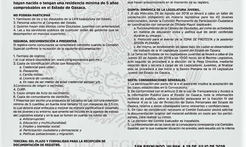 Busca Legislativo a 42 Jóvenes de Oaxaca para integrar la VII Legislatura Juvenil