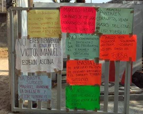 Siguen las protestas en el Conalep Salina Cruz