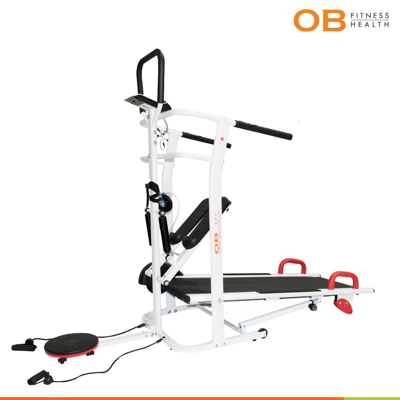 OB-2017 Manual Treadmill Foldable Multifungsi Dilengkapi Stepper, Twister, Loop & Push Up