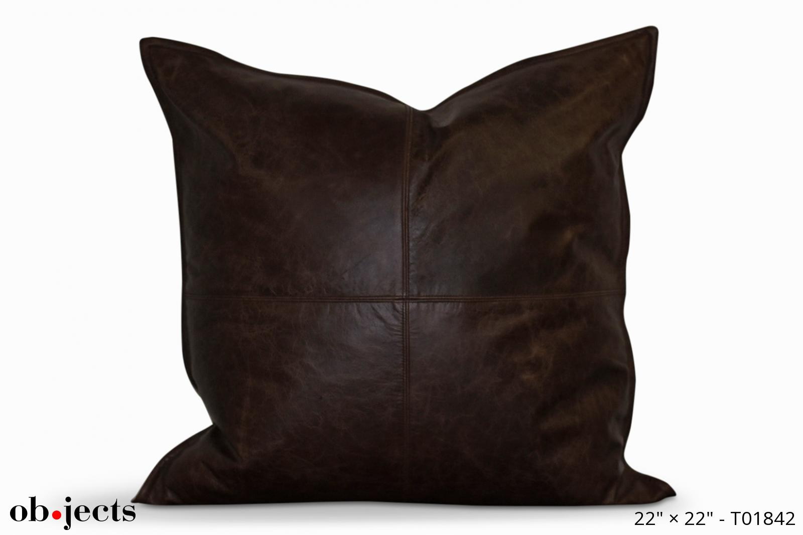 pillow dark brown leather ob jects